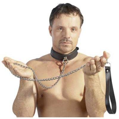 Aanlijnketting met lederen polsband