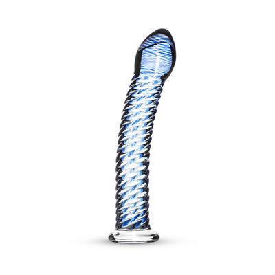 Glazen G-Spot/Prostaatdildo Met Ribbels - Blauw